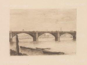 "Herring: Vauxhall Bridge. 1884. An original antique etching. 5"" x 4"". [LDNp9212]"