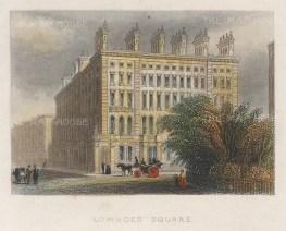 "Tallis: Lowndes Square, Belgravia. 1851. A hand coloured original antique steel engraving. 4"" x 3"". [LDNp9427]"