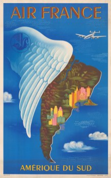Extreme Orient:: Promotional poster for Air France's routes to South America. By Lucien Boucher.
