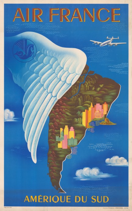 Amerique du Sud: Promotional poster for Air France's routes to South America. By Lucien Boucher.