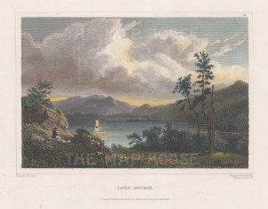 "Hinton: Lake George, New York. 1831. A hand coloured original antique steel engraving. 7"" x 5"". [USAp4624]"