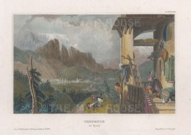 "Meyer: Innsbruck, Austria. c1840. A hand coloured original antique steel engraving. 6"" x 4"". [AUTp192]"