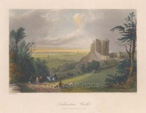 """Bartlett: Castle Liechtenstein, Austria. c1840. A hand coloured original antique steel engraving. 8"""" x 7"""". [AUTp196]"""
