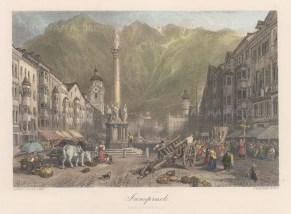 "Cassell: Innsbruck, Austria. c1870. A hand coloured original antique steel engraving. 10"" x 8"". [AUTp198]"