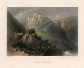 """Bartlett: Castle Wildenstein, Austria. c1840. A hand coloured original antique steel engraving. 8"""" x 7"""". [AUTp233]"""