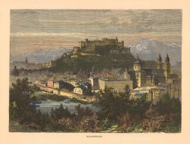 "Picturesque Europe: Salzburg, Austria. 1880. A hand coloured original antique wood engraving. 8"" x 5"". [AUTp234]"