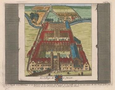 "van der Aa: St. John's College. 1727. A hand coloured original antique copper engraving. 6"" x 5"". [CAMBSp414]"