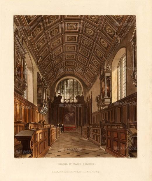 "Ackermann: Caius College Chapel. 1815. An original colour antique aquatint. 8"" x 10"". [CAMBSp437]"