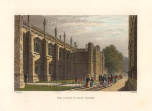 """Le Keux: King's College Library. 1840. A hand coloured original antique steel engraving. 6"""" x 4"""".[CAMBSp492]"""