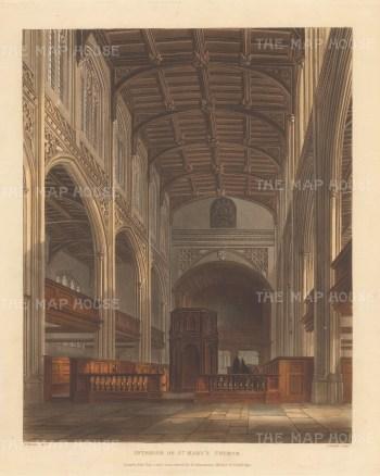 """Ackermann: St. Mary's Church. 1815. An original colour antique aquatint. 8"""" x 10"""".[CAMBSp493]"""