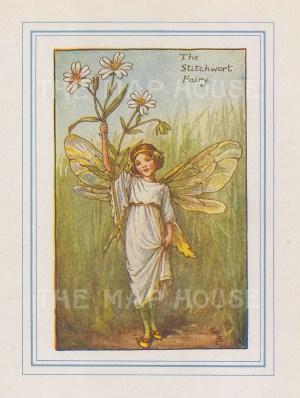 "Barker: Stichworth Fairy. 1927. An original vintage chromolithograph. 3"" x 4"". [DECp2169]"