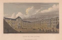 "Pugin: Louvre. 1828. A hand coloured original antique steel engraving. 6"" x 4"". [FRp1481]"