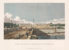 "Pugin: Place de Louis XV. 1828. A hand coloured original antique steel engraving. 6"" x 5"". [FRp1482]"