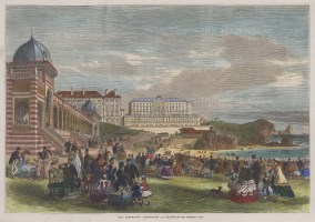 """Illustrated London News: Biarritz. 1866. A hand coloured original antique wood engraving. 14"""" x 10"""". [FRp1518]"""