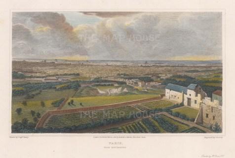 "Lieut. Col. Batty: Paris from Montmartre.. 1821. A hand coloured original antique steel engraving. 9"" x 5"". [FRp1526]"