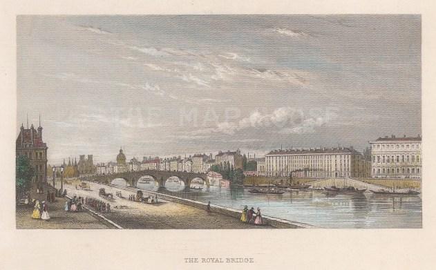 "Pugin: Pont Royal. 1845. A hand coloured original antique steel engraving. 6"" x 4"". [FRp1558]"