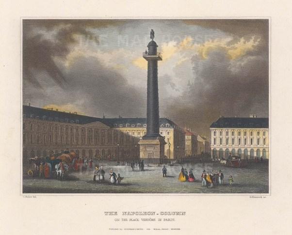 "Meyer: Napoleon's Column. c1840. A hand coloured original antique steel engraving. 6"" x 4"". [FRp1585]"