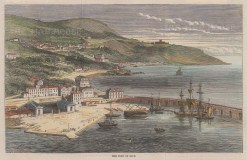 """Illustrated London News: Nice. 1860. A hand coloured original antique wood engraving. 10"""" x 5"""". [FRp1602]"""