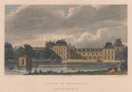 "Pugin: Fountainbleu. 1828. A hand coloured original antique steel engraving. 6"" x 4"". [FRp1631]"
