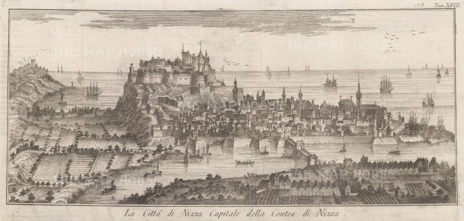 Nice: View over the city and port towards the sea. After Thomas Salmon.