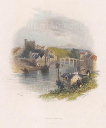 "Creswick: Enniscorthy, Wexford. 1841. A hand coloured original antique steel engraving. 4"" x 6"". [IREp675]"