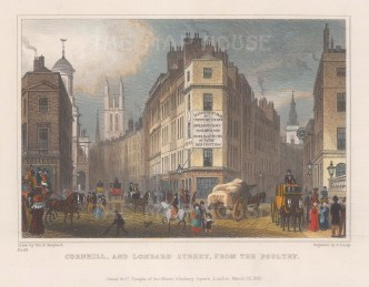 "Shepherd: Cornhill & Lombard Street. 1830. A hand coloured original antique steel engraving. 6"" x 5"". [LDNp10002]"