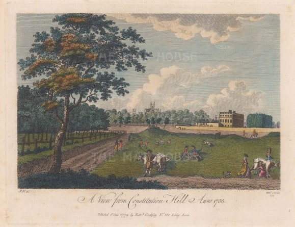"""Godfrey: Constitution Hill towards Westminster. 1779. A hand coloured original antique steel engraving. 8""""x 6"""". [LDNp10034]"""