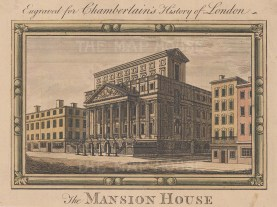 """Chamberlain: Mansion House. c1773. A hand coloured original antique copper engraving. 5"""" x 4"""". [LDNp10084]"""