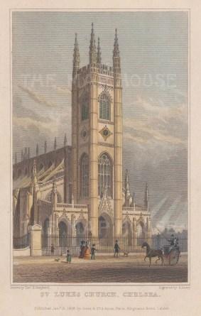 "Shepherd: St Luke's Church, Chelsea. 1828. A hand coloured original antique steel engraving. 4"" x 3"". [LDNp10142]"