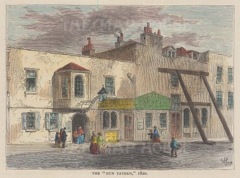 Lupus Street, Pimlico. The Gun Tavern in 1820.