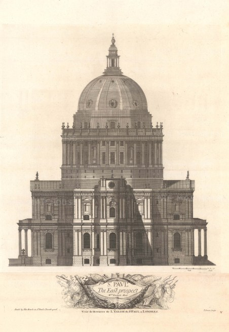 """Bowles: St Paul's Cathedral. 1732. An original antique copper engraving. 18"""" x 27"""". [LDNp10315]"""