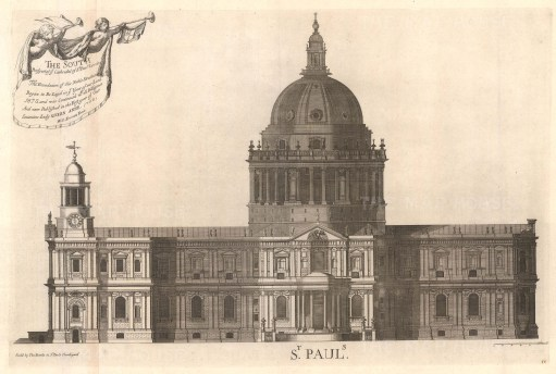"""Bowles: St Paul's Cathedral. 1732. An original antique copper engraving. 27"""" x 18"""". [LDNp10318]"""