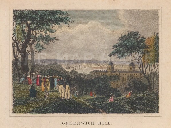 Greenwich Hill towards the Royal Hospital and the Thames.