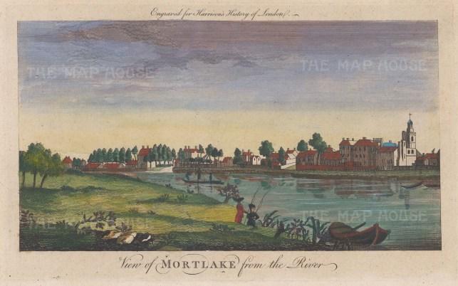 "Harrison: Mortlake. 1775. A hand coloured original antique copper engraving. 14"" x 7"". [LDNp10352]"