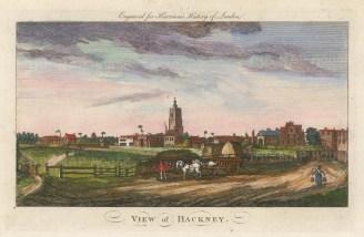 "Harrison: Hackney. 1775. A hand coloured original antique copper engraving. 14"" x 7"". [LDNp10379]"