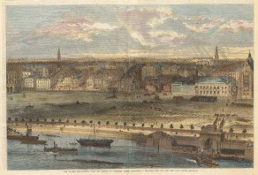 Thames Embankment: From the Temple to Somerset House. Showing the proposed site for the New Law Courts.