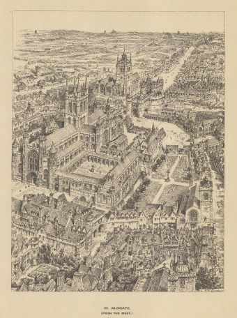 Aldgate. Bird's eye view from the West. After the architectural artist Henry William Brewer