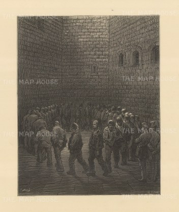 Newgate Exercise Yard. Men marching in a circle. From the famous French artist's four year pilgrimage through London.