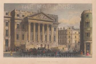 "Tallis: Mansion House. 1851. A hand coloured original antique steel engraving. 6"" x 4"". [LDNp10636]"