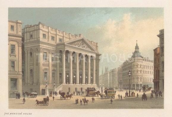 "Nelson: Mansion House. 1889. An original antique chromolithograph. 5"" x 4"". [LDNp10733]"