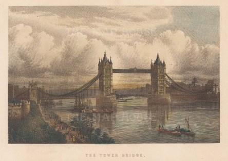 "Bradner: Tower Bridge. 1895. A hand coloured original antique steel engraving. 7"" x 5"". [LDNp10897]"