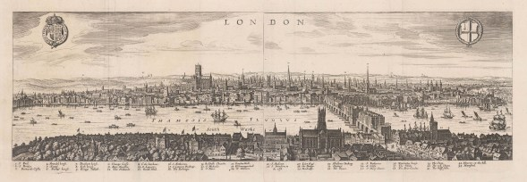 Panorama of pre-fire London: From the Palace of Whitehall to St Katherine's Church. looking from Southwark. Based on views by Norden (1600) and Visscher (1616) with Royal arms, City arms and key to landmarks.