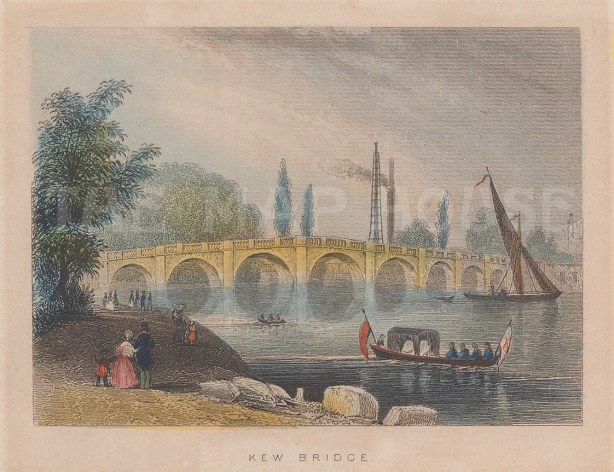 "Tallis: Kew Bridge. 1851. A hand coloured original antique steel engraving. 4"" x 3"". [LDNp7994]"