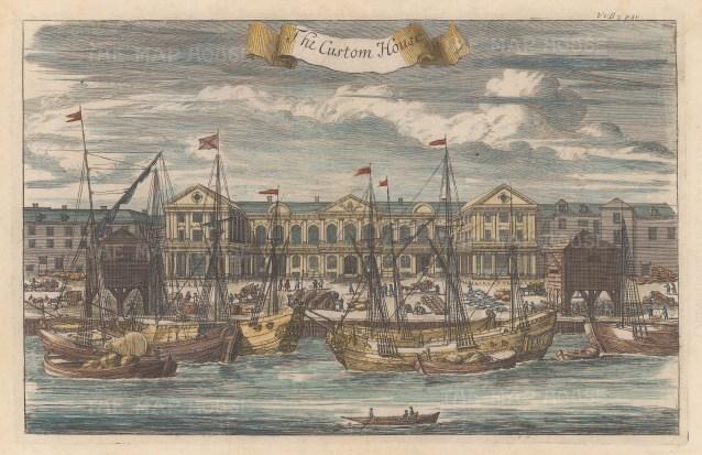 "Stow: Custom House. 1755. A hand coloured original antique copper engraving. 14"" x 9"". [LDNp8178]"
