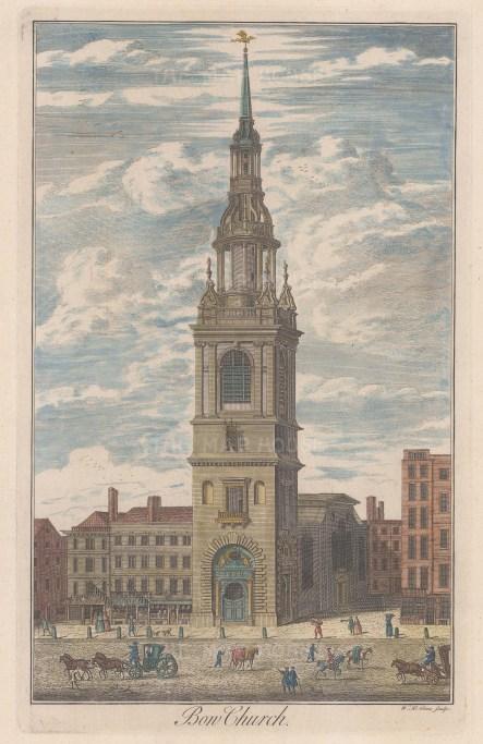 "Maitland: St Mary-le-Bow Church. c1750. A hand coloured original antique copper engraving. 8"" x 14"". [LDNp8271]"