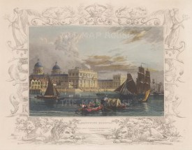 """Tombleson: Greenwich Hospital. c1845. A hand coloured original antique steel engraving. 9"""" x 7"""". [LDNp8362]"""