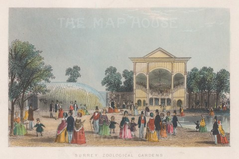 Vauxhall. 'Surrey' Zoological Pleasure Gardens. View of the aviary and band stand.