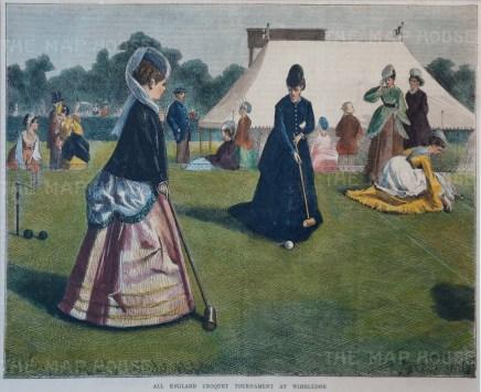 "Wimbledon. Ladies playing croquet. ""All England Croquet Tournament""."