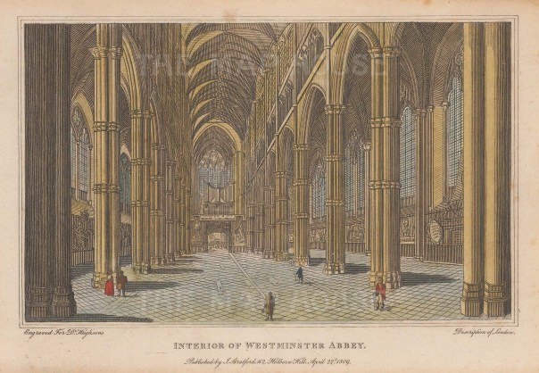 """Stratford: Westminster Abbey. 1809. A hand coloured original antique steel engraving. 7"""" x 5"""". [LDNp8763]"""