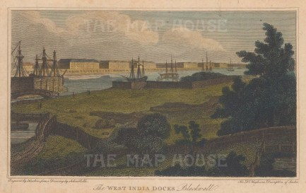 "Stratford: West India Docks. 1809. A hand coloured original antique steel engraving. 7"" x 5"". [LDNp8767]"